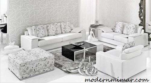 Beyaz olarak tasarlanmış modern salon dekorasyonları