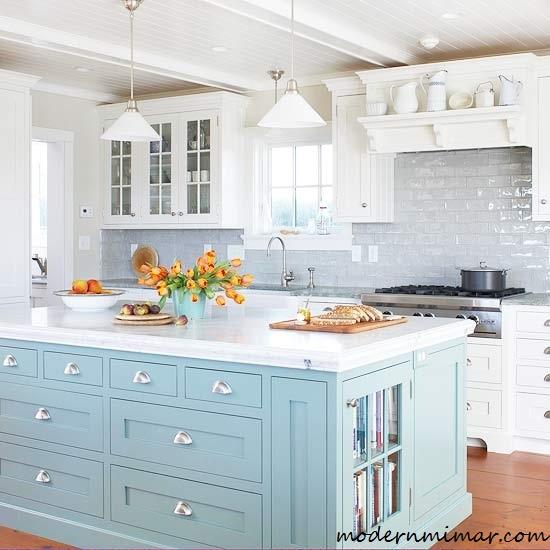 Açık Mavi Mutfak Modası ve Modelleri