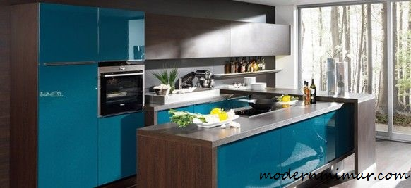 Ahşap Açık Mavi Mutfak Modelleri