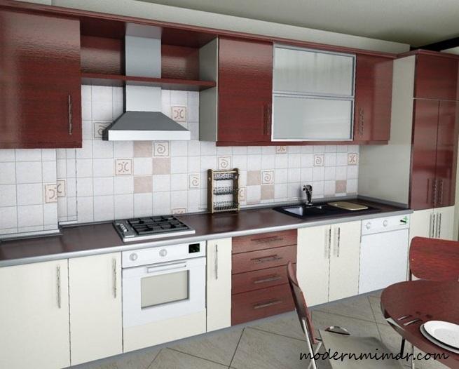 Beyaz Bordo Mutfak Modelleri