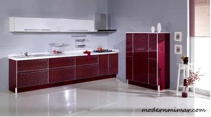 Güzel Bordo Mutfak Modelleri