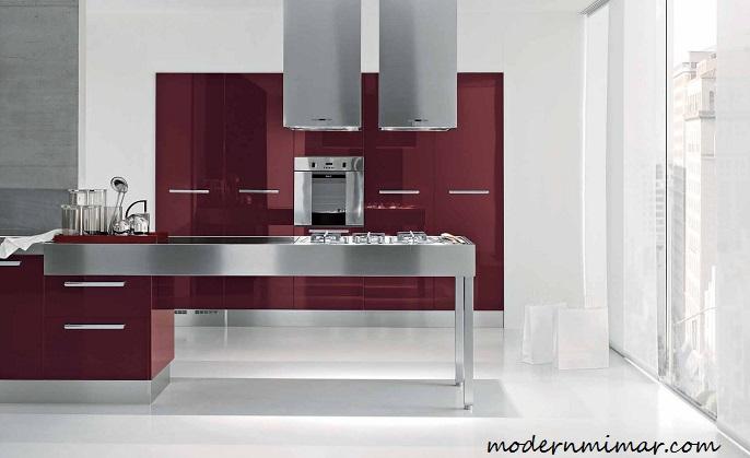 Kullanışlı Bordo Mutfak Modelleri