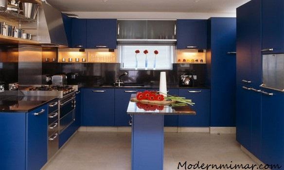 Lacivert modern mutfaklar