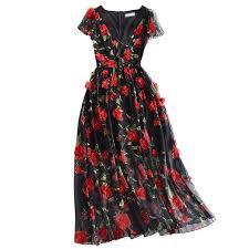 Çiçekli Üç Boyutlu Baskılı Bayan Elbisesi Modelleri