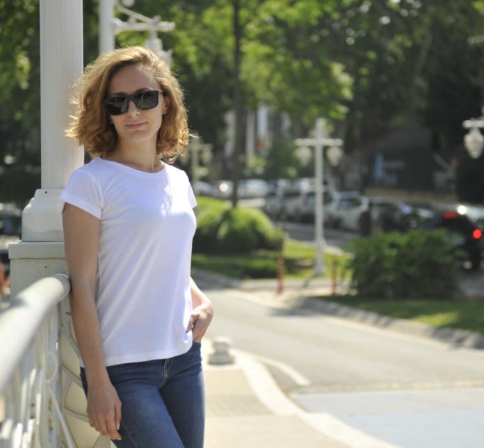 Beyaz doğal Organik basic tişört