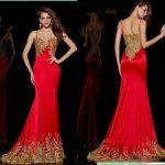 Kırmızı Gold seksi İşlemeli Şifon Abiye Modelleri