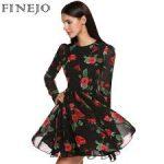 Saten Üç Boyutlu Baskılı Bayan Elbisesi Modelleri